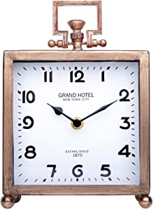 NIKKY HOME Metal Desk Clock, Silent Non-Ticking Classic Analog Table Clock for Living Room Decor Shelf - Chic Home Décor for Desktop, Countertop
