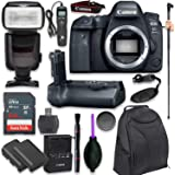 Canon EOS 6D Mark II Digital SLR Camera Body - Wi-Fi Enabled with Pro Camera Battery Grip, Professional TTL Flash, Deluxe Bac