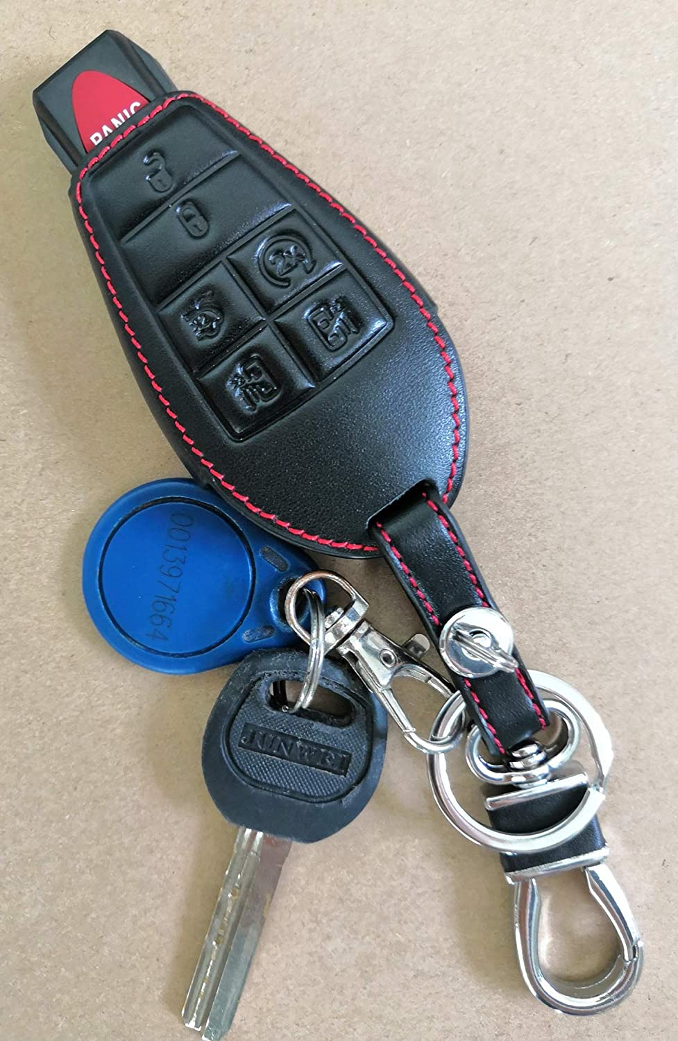 KAWIHEN Keyless Entry Key Fob Leather Cover For Chrysler 300 T/&C Dodge Challenger Charger Durango Grand Caravan Journey Ram 1500-4500 Magnum Jeep Grand Cherokee Commander M3N5WY783X 2701A-C01C IYZ-C01