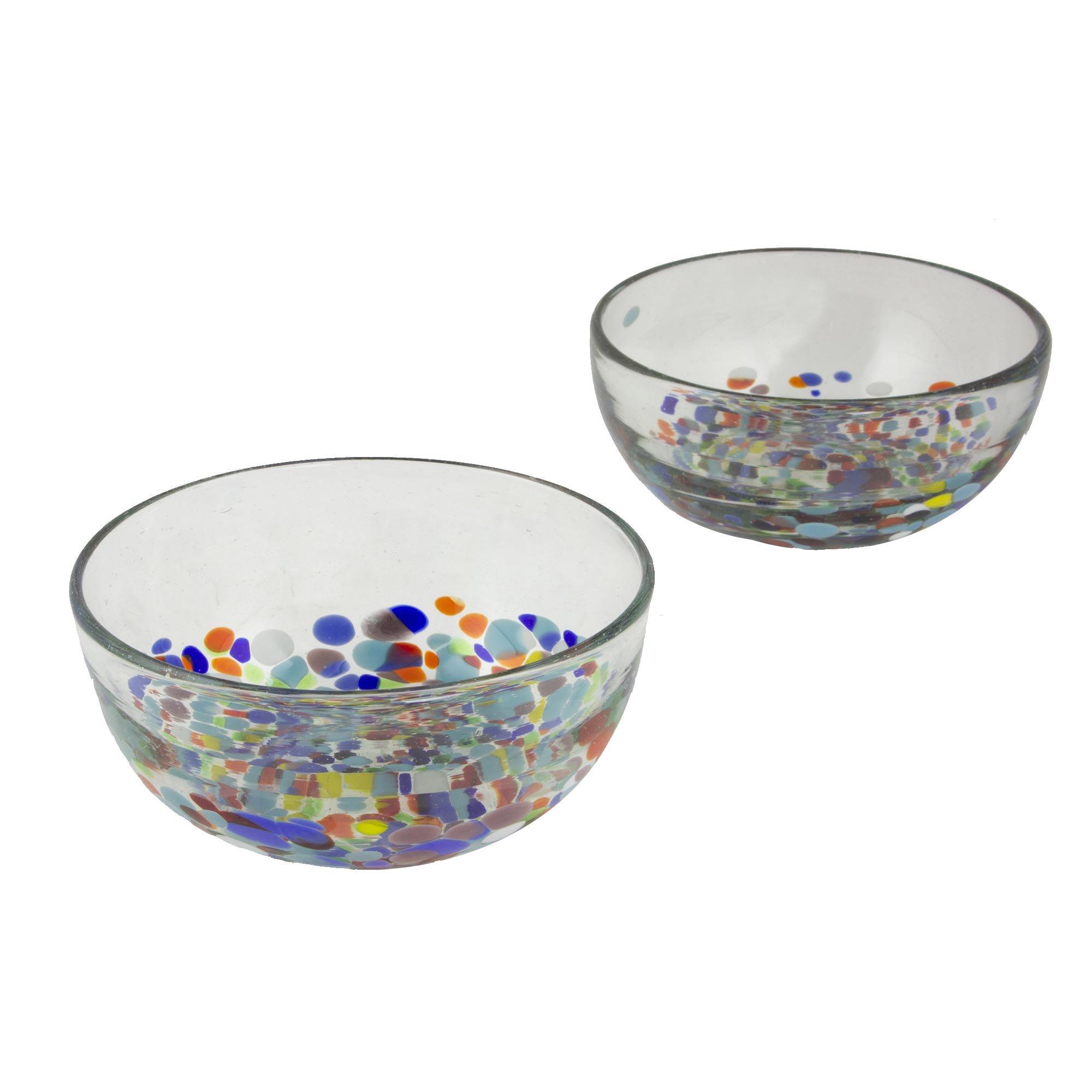 NOVICA 259654 Confetti Festival Blown Glass Bowls, 2.6'' Tall, Multicolor