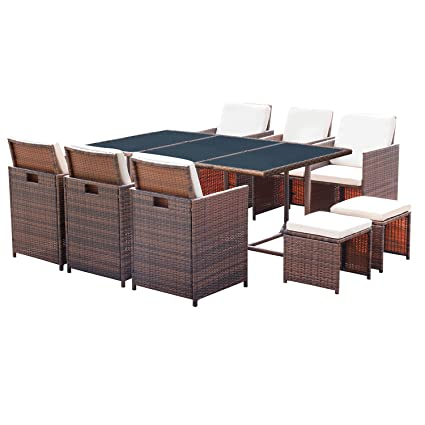Homall 11 Pieces Patio Furniture Dining Set Patio Wicker Rattan Table And  Chairs Set Outdoor Furniture