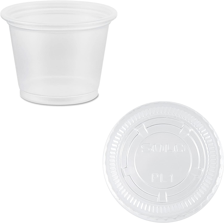 Solo Disposable Plastic 1 Oz Cups with Lids - Jello / Souffle / Portion Cups #PLN100 (2,500)