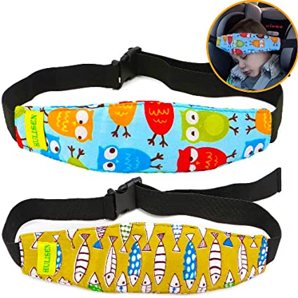 Carseat Straps Covers 2Pcs Infants and Baby Head Support Band Slumber Sling Blue Toddler Car Seat Sleep Positioner