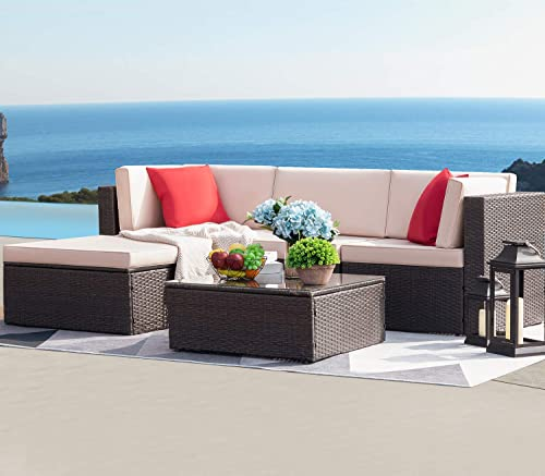 Devoko 5 Pieces Patio Furniture Sets All-Weather Outdoor Sectional Sofa Manual Weaving Wicker Rattan Patio Conversation Set with Cushion and Glass Table Beige