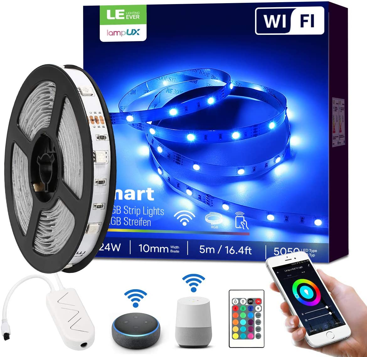 LE LampUX WiFi Smart LED Strip Lights with Remote, Alexa Google Home Compatible, 16.4ft RGB Color Changing, SMD 5050 LED Rope Light, Under Cabinet Strip Lighting, 12V Tape Light for Kitchen, Bedroom