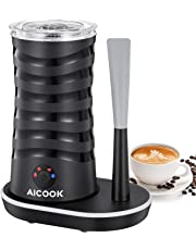 Espumador de leche eléctrico Aicook, Espumador de leche Multifunción 4 en 1, Base de Iluminación de 360°, Con cuchara de silicona, Espumador y Calentador Automático de leche, para Latte, Cappuccino