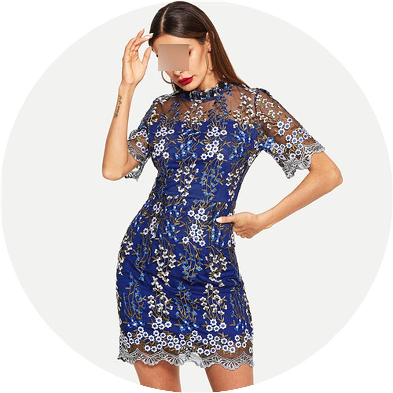 bluee White Island bluee Contrast Mesh Floral Dress Short Sleeve Stand Collar Slim Elegant Party Women Dresses