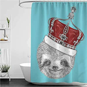 Sloth Queen Size Rustic Shower Curtain Cute Hand Drawn Animal with Imperial Ancient Crown King of Laziness Theme Water Repellent Durable Bathroom Decor Aqua Burgundy Grey 108
