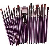 NOMENI 20 pcs Makeup Brush Set tools Make-up Toiletry Kit Wool Make Up Brush Set (Purple)