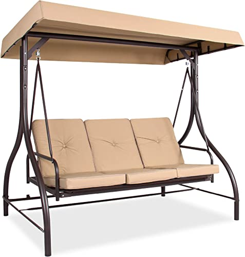 Best Choice Products 3-Seat Outdoor Large Converting Canopy Swing Glider