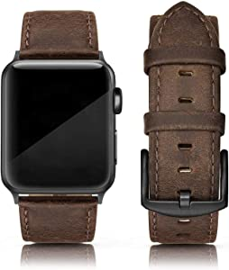 SWEES Leather Band Compatible for iWatch 42mm 44mm, Genuine Leather Replacement Wristband Strap Compatible iWatch Series 6, Series 5, Series 4, Series 3, Series 2, Series 1, SE Sports & Edition Men, Retro Brown