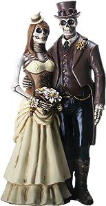 YTC 8 Inch Steampunk Skeleton Wedding Couple Statue Figurine, Brown