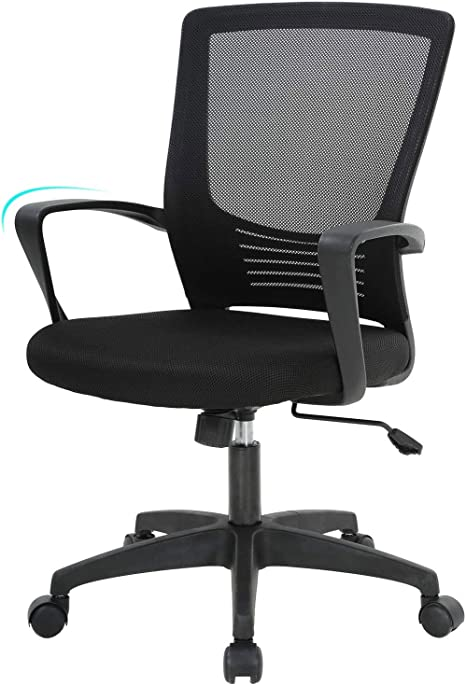 Amazon Com Ergonomic Office Chair Desk Chair Mesh Computer Chair With Lumbar Support Arms Modern Cute Swivel Rolling Task Mid Back Executive Chair Black Kitchen Dining