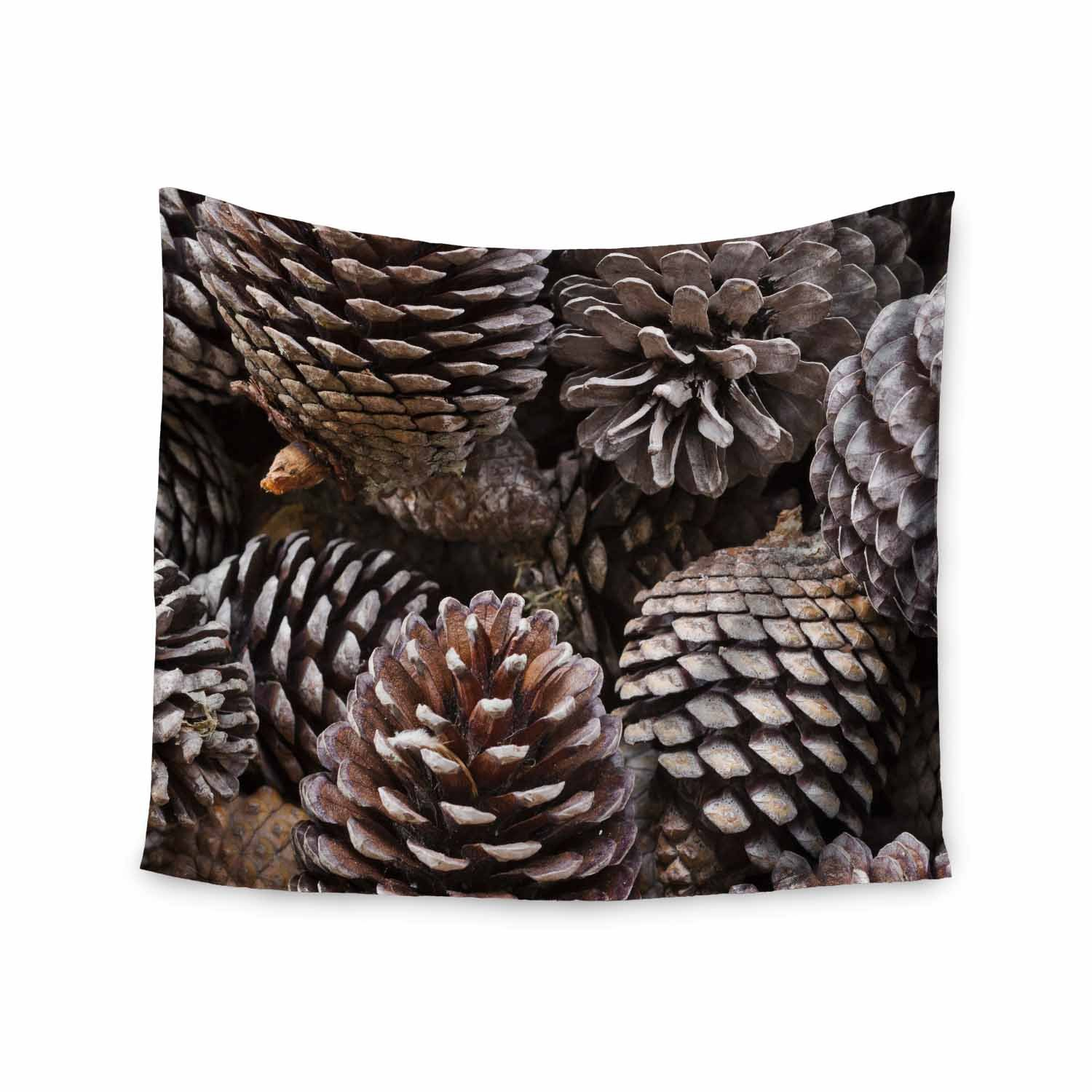 68 x 80 Wall Tapestry Kess InHouse Susan Sanders Pine Cones Brown Tan Nature Holiday Photography