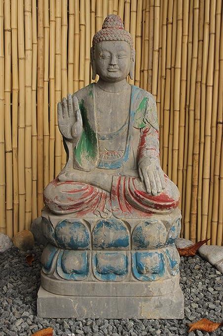 Asia LifeStyle Jardín Figura de Buda (81 cm) de piedra natural con protección juguete de en Lotus Socket: Amazon.es: Hogar