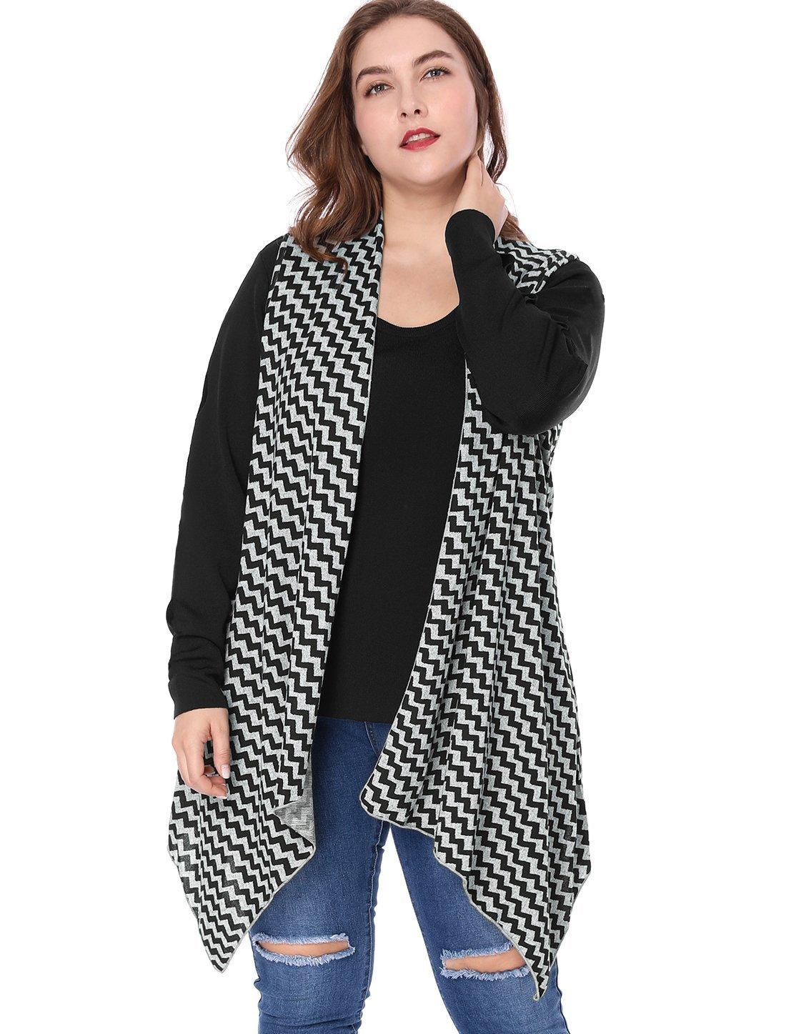 Agnes Orinda Women's Plus Size Zig-zag Pattern Irregular Hem Knit Cardigan 3X Grey