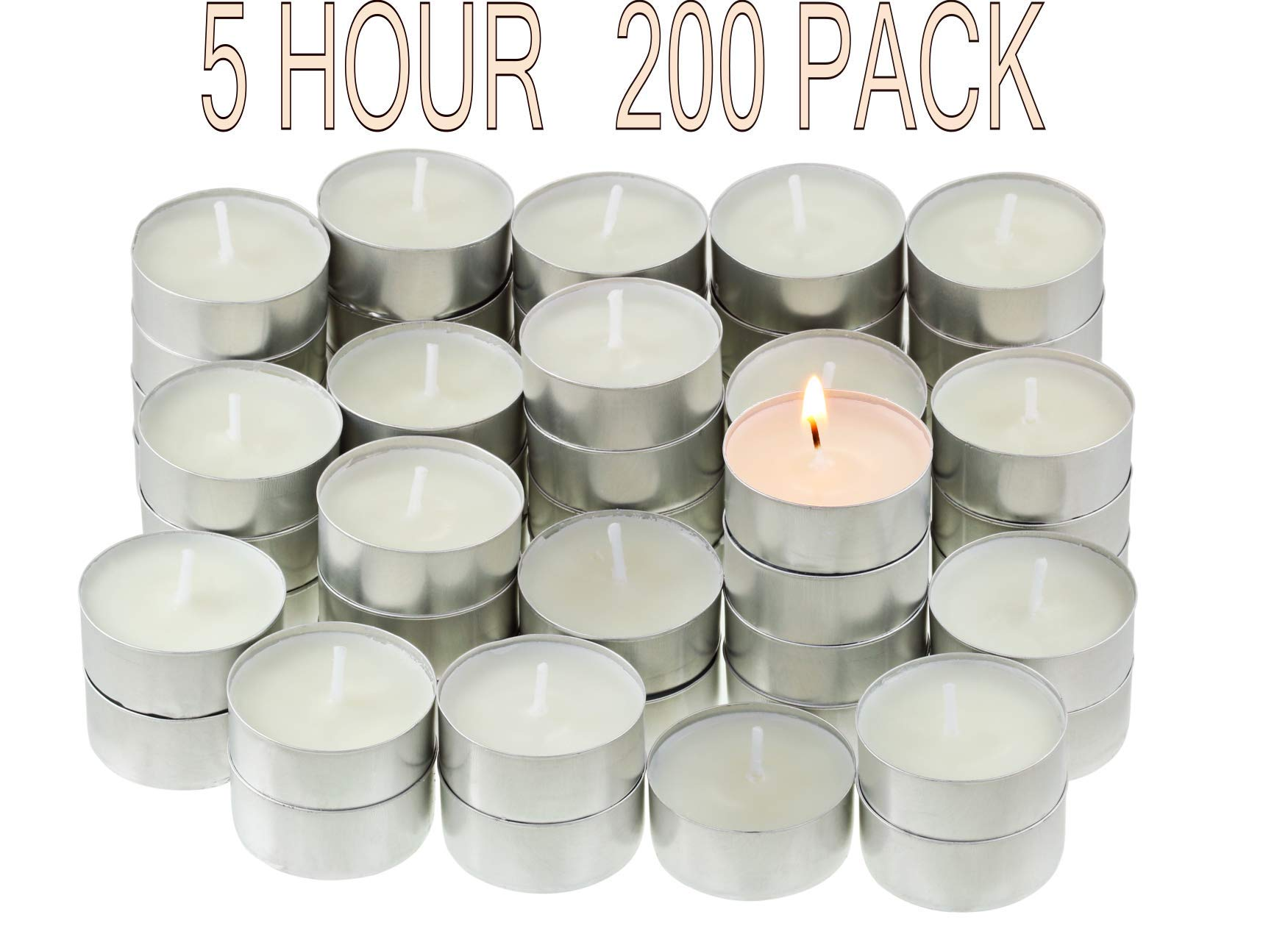 CandleNScent | 5 Hour Tealight Candles | 200 Tea Lights Candles Bulk | White | Unscented Candles | Long Burning Tea Lights | Poured Wax | Made in USA by CandleNScent (Image #1)