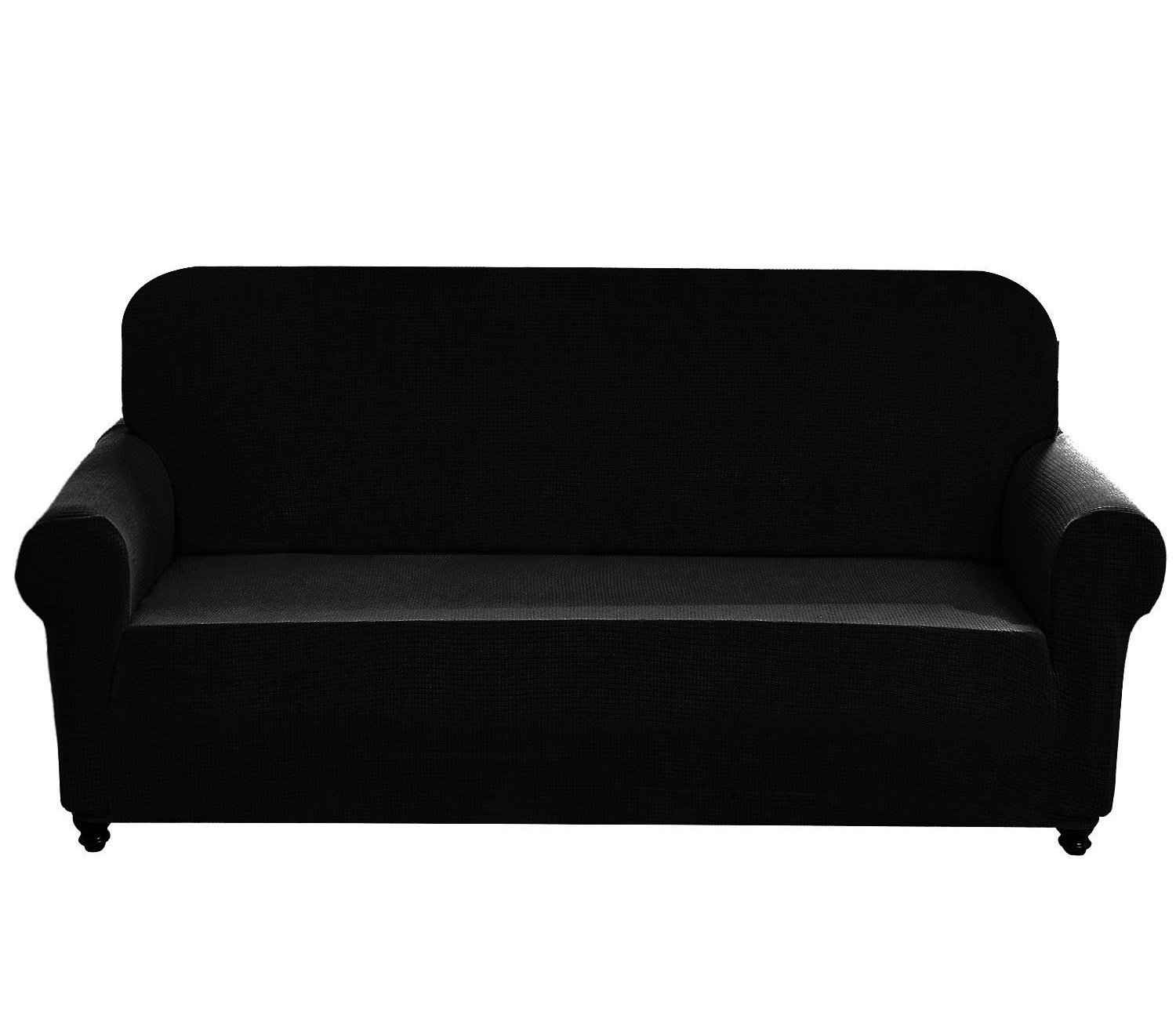 Chelzen Stretch Sofa Covers 1-Piece Polyester Spandex Fabric Living Room Couch Slipcovers (Sofa, Black)
