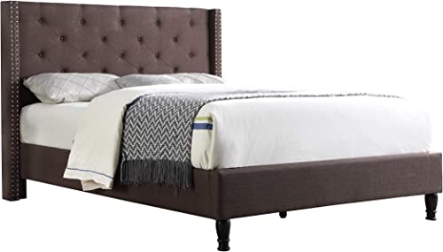 Home Life Premiere Classics Cloth Brown Linen 51 Tall Headboard Platform Bed