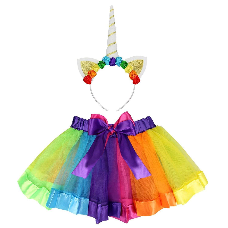 Rocita Girls\' Rainbow Tutu Skirt Colorful Pleated Gauzy Princess Dress With Unicorn Cat Ear Hair Clasp (Rainbow, M)