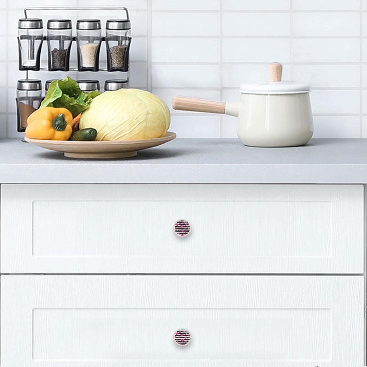 4 Cabinet Knobs for Dresser Drawers Cabinet Handles Pulls for Home Office Cupboard Pattern for Valentines Day with Black Hand Drawn Lines and Hearts