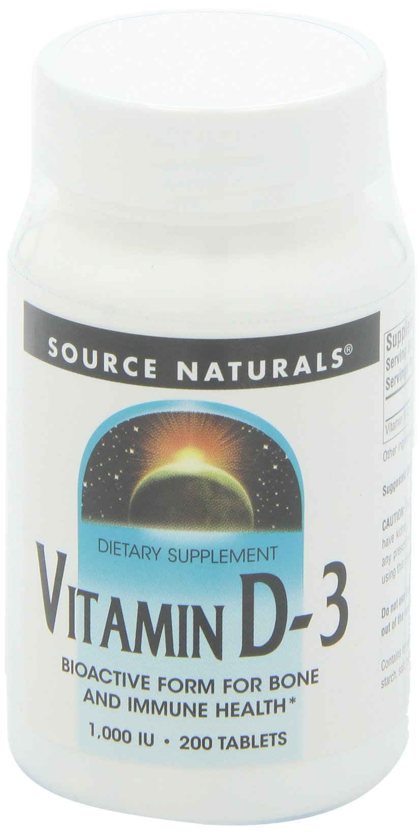 Source Naturals Vitamin D-3 1000 IU, 200 Tablets (Pack of 3)