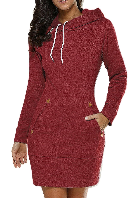 60%OFF Women Plus Size Casual Pullover Capucha Con Cordon Mini Vestido De  Suéter Sudaderas. con cuello de manga larga ... f544d167cb4