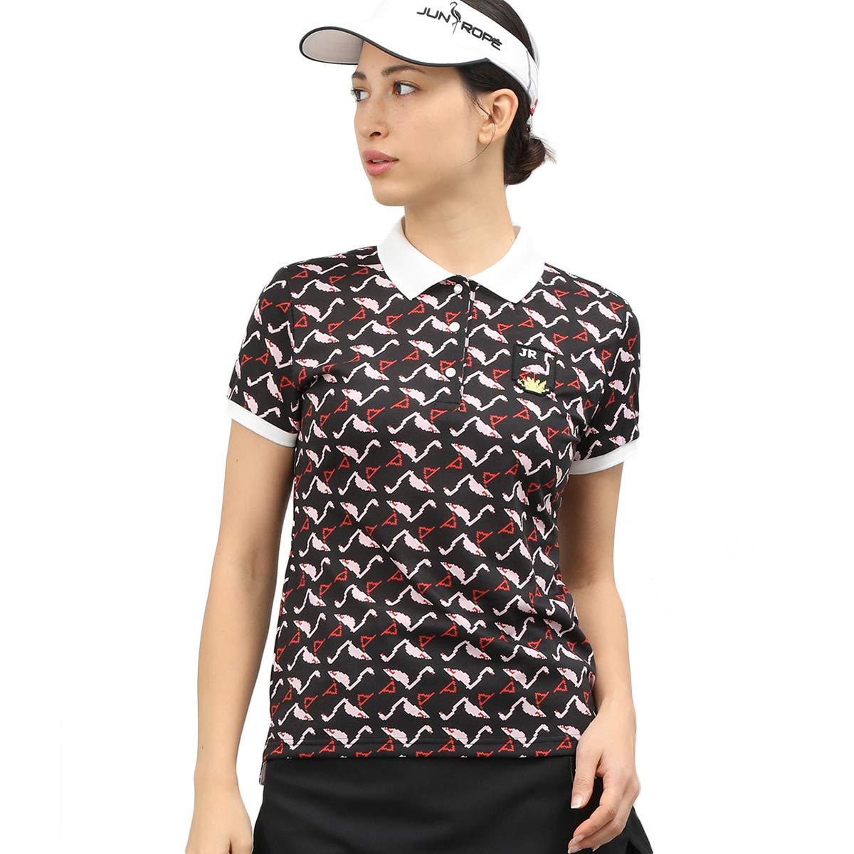 ジュン アンド ロペ JUN & ROPE 半袖シャツポロシャツ ピクセルフラミンゴPT半袖ポロシャツ レディス ブラック 01 S   B07R3XRLSR