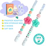 Baby Silicone Pacifier Clip and Teether Holder - Girl's Binky Holder - Best for Teether Toys, Stuffed Animals, Soothie/MAM, Infant Blankets & Drool Bibs, Set of 2 Chewable Pacifier Straps with Roses C