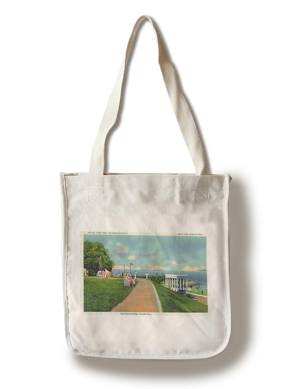 プリマス、マサチューセッツ州 – Coles Hill View of the Promenade Canvas Tote Bag LANT-18833-TT B01841CYQE  Canvas Tote Bag