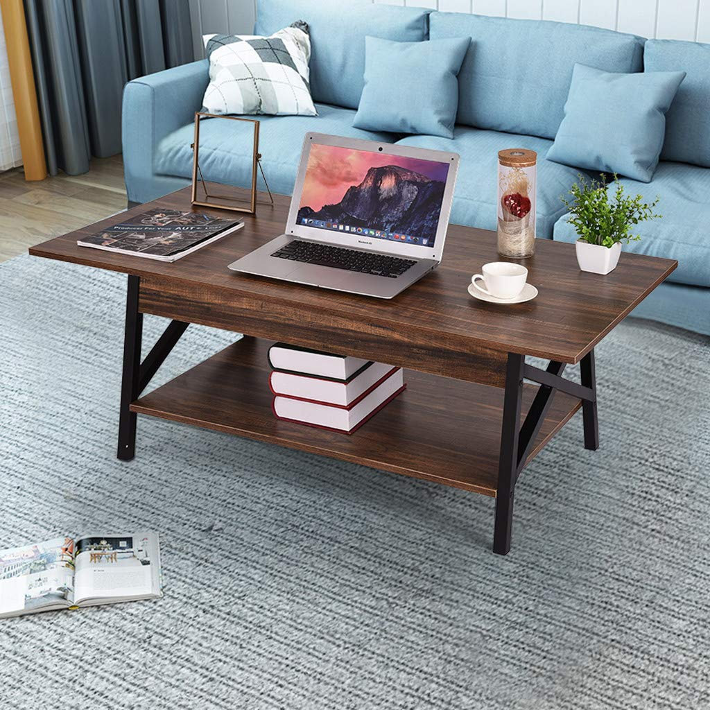 Amazon.com: 2019 Two-Story Coffee Table, Cocktail Wood Metal ...