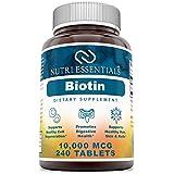 Nutri Essentials Biotin 10000 Mcg Tablets Dietary Supplements (Non-GMO, Gluten-Free) - Supports Healthy Cells…