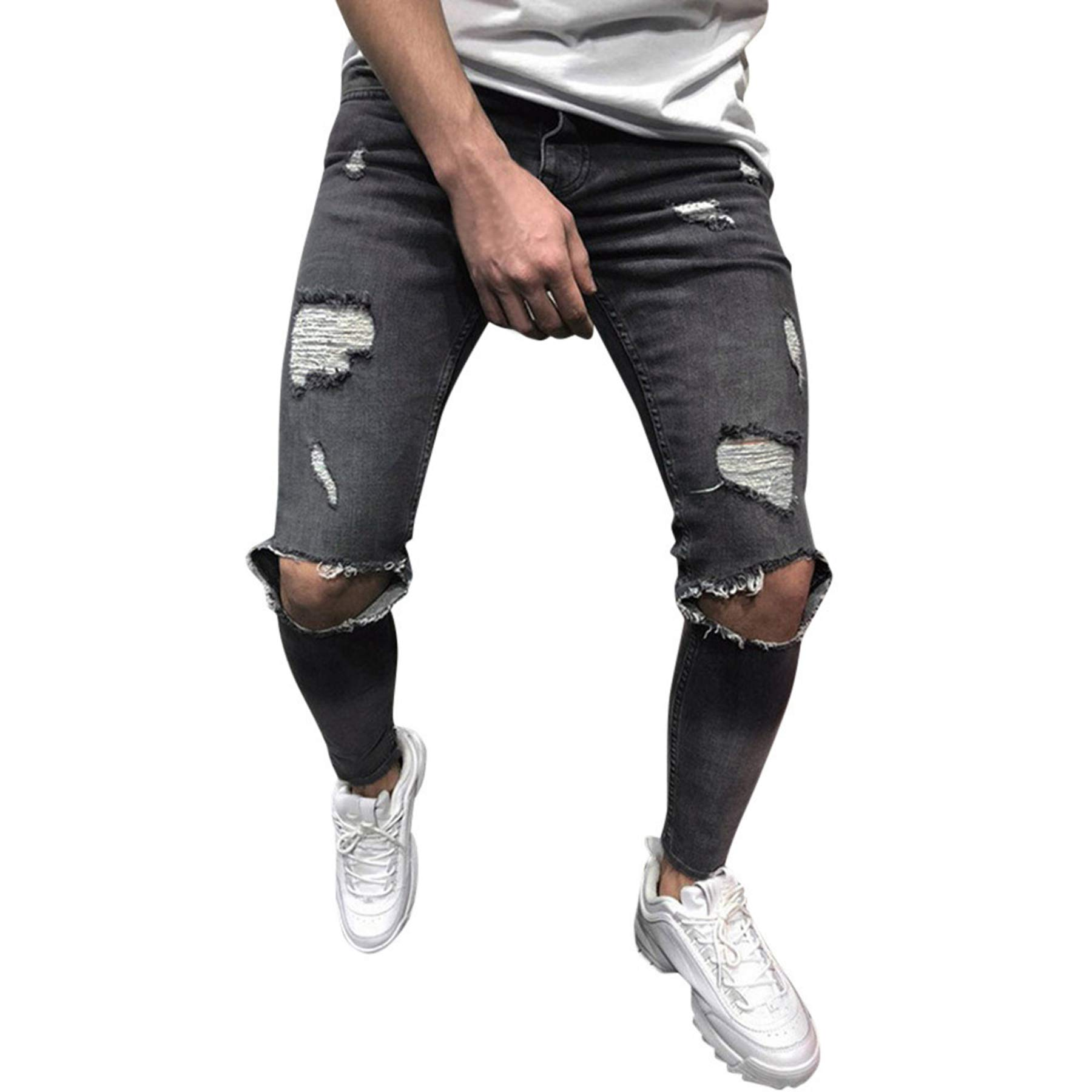 Side Stripe Biker Jeans for Men, Teen Boy Washed Distressed Destroyed Skinny Jeans Stretchy Holes Ripped Denim Pants (Gray-1, 31) by Fanteecy