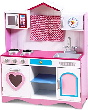 Costzon Play Kitchen Set, Wooden Toy Kitchen for Chef\'s Pretend Cooking  Play, Toddler Kitchen w/ Four Locker, Mini Simulation Faucet, Washing Pool,  ...