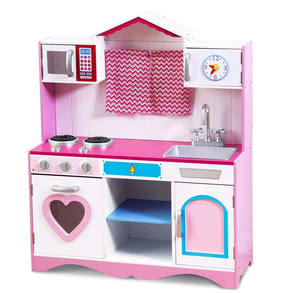 Costzon Play Kitchen Set, Wooden Toy Kitchen for Chef's Pretend Cooking Play, Deluxe Toddler Kitchen w/ Four Lovely Locker, Mini Simulation Faucet, Washing Pool, Simulation Kitchen, for Kids, Girls