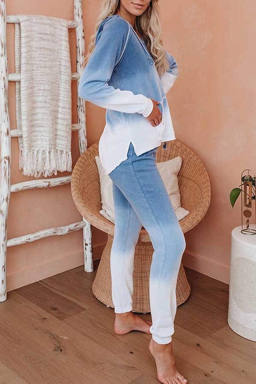 Fixmatti Women 2 Piece Tie Dye Sweatsuit Pullover Shirts and Drawstring Pant Set