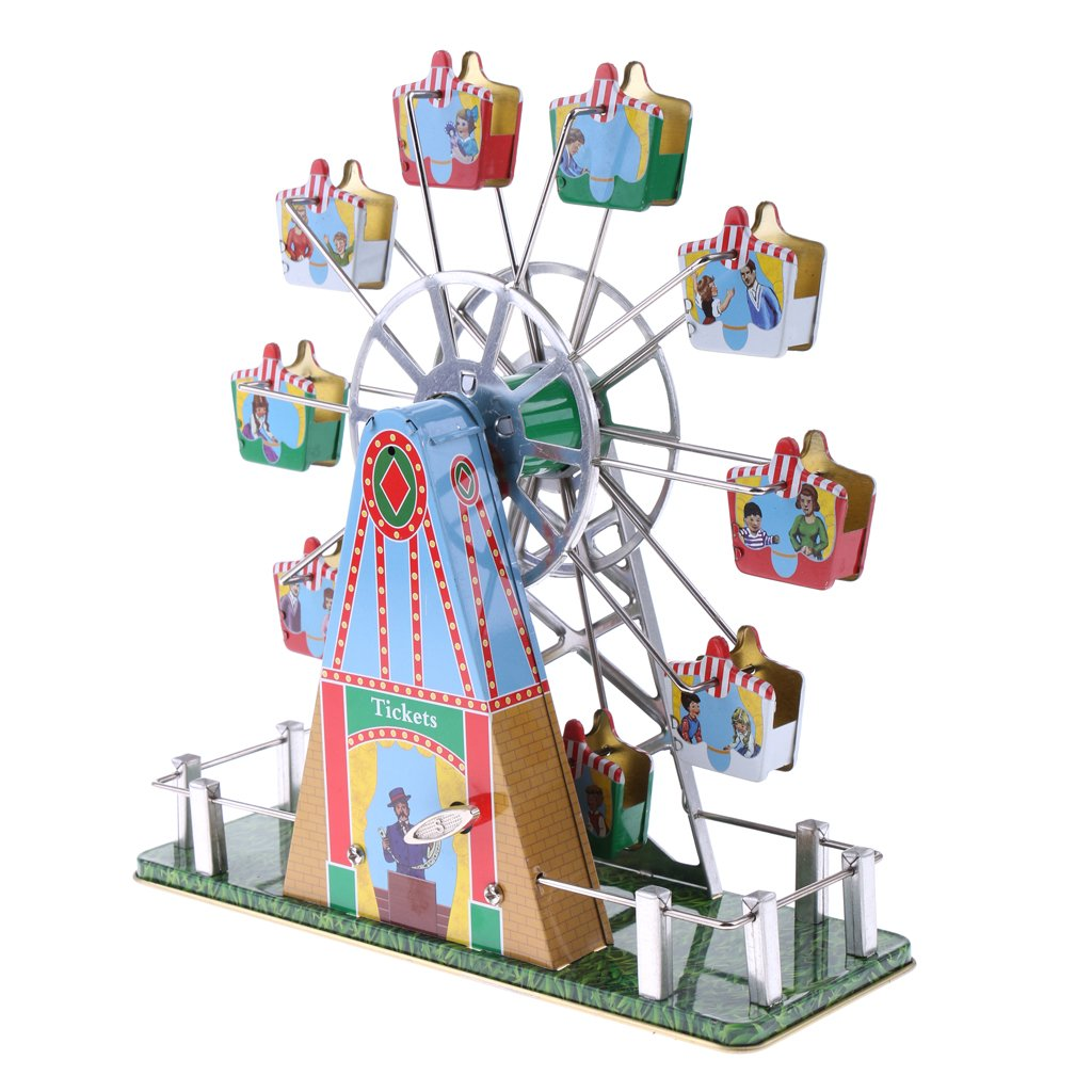 Dovewill Retro Wind up Spinning Ferris Wheel with Music Movement Clockwork Metal Tin Toy Collectible Gift by Dovewill (Image #9)