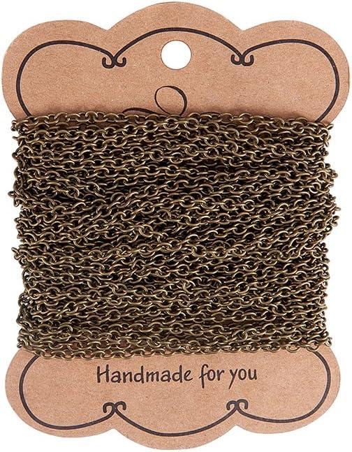 PandaHall - Cadenas de hierro cruzado de 10 m para manualidades, pulseras, collares, sin plomo y sin níquel, bronce antiguo., Bronce envejecido, 4x3x0.7mm