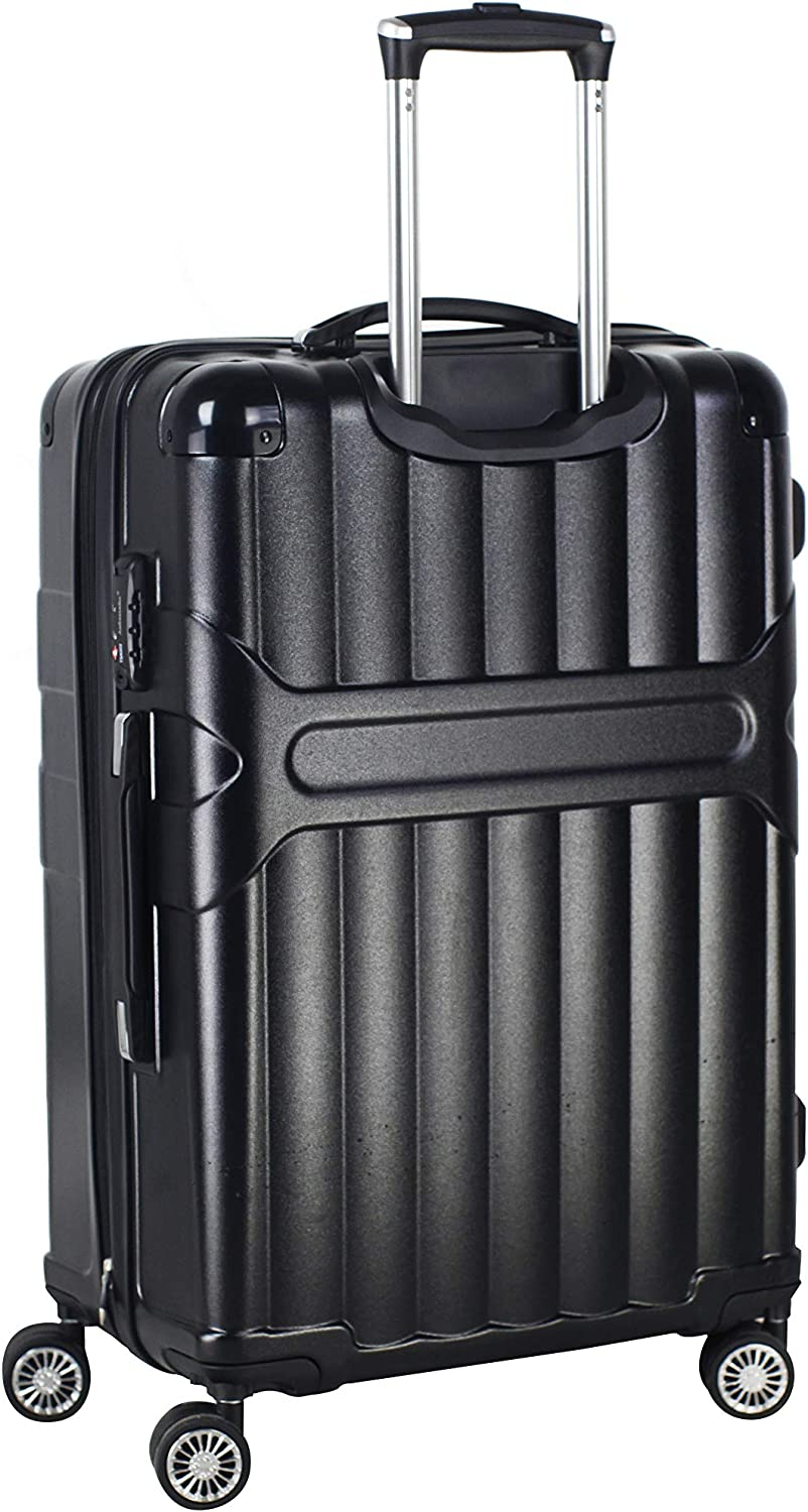 black, medium Ambassador Luggage Virgin PC material Spinner Luggage Hard shell Rolling Zipper Suitcase Expandable TSA lock