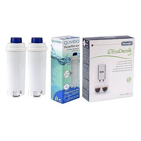 QUVIDO – 2 x Filtro de agua Delta para antical cafeteras + 1 x DeLonghi dlsc200