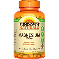 Sundown Naturals Magnesium, 500 mg (180 Coated Caplets) Mineral Supplement, Meets Daily