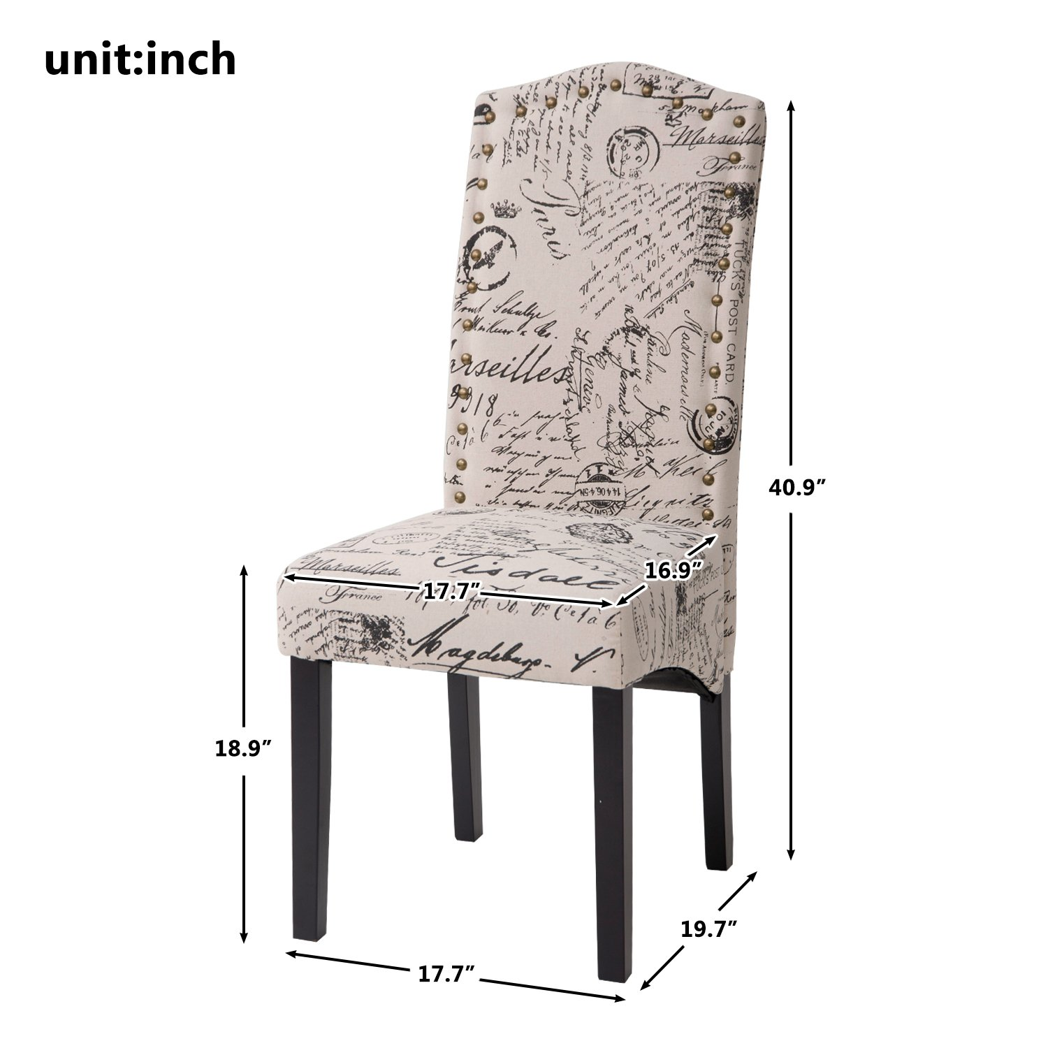 Merax PP036312AAA Dining Script Fabric Accent Chair with Solid Wood Legs, Set of 2 by Merax (Image #7)