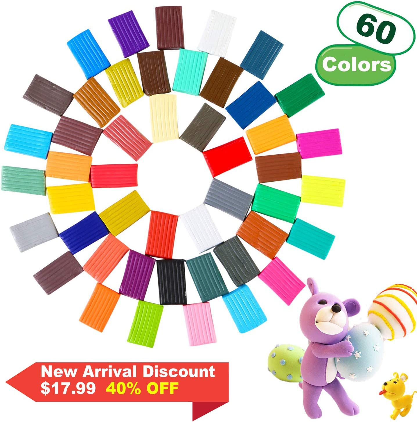 Total 4.7LB Non-Stick Farielyn-X 60 Colors 1 oz//Block Soft Oven Bake Modeling Clay Kit Polymer Clay 19 Tools and 10 Kinds of Accessories Non-Toxic Ideal DIY Gift for Kids