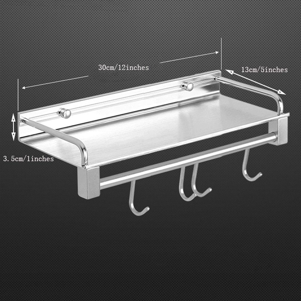 YXN Space Aluminum Bathroom Shelf Bathroom Solid Thick Metal Pendant Bathroom Single Layer With Hook Corner Frame (Size : 30cm)