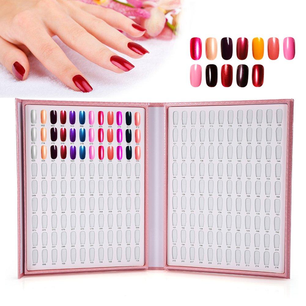 Paleta de uñas de tarjeta tablón de 216 colores - Expositor de esmalte de uñas Nail Art accesorio de manicura: Amazon.es: Belleza