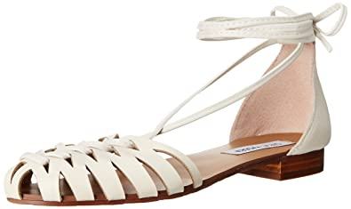 Steve Madden Women's Leaondra Boat Shoe, White Leather, ...