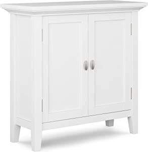 SIMPLIHOME Redmond SOLID WOOD 32 inch Wide Rustic Low Storage Cabinet in White