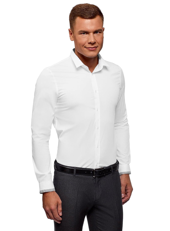 oodji Ultra Uomo Camicia Extra Slim con Finitura a Contrasto su Colletto e Polsini RIFICZECH s.r.o. 3L140110M