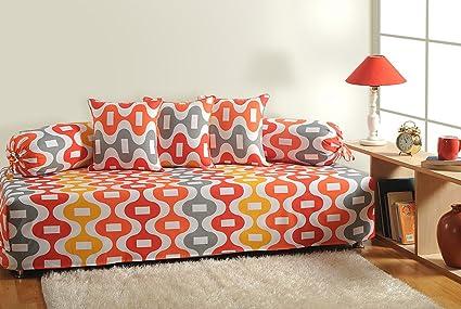 Swayam Shades of India 144 TC 6 Piece Cotton Diwan Set - Orange