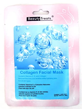 Amazon.com : BEAUTY TREATS Collagen Facial Mask Refreshing Vitamin C Solution for All Skin Types (Choice Qty) 10 pk : Beauty
